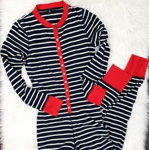 J. Crew Striped Pajama onesie jumpsuit Medium